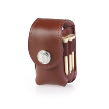 Mini Portable Clip on Golf Ball Holder Pouch Bag Hold 2 Balls Golfer Aid Tool Gift (Brown)(China)