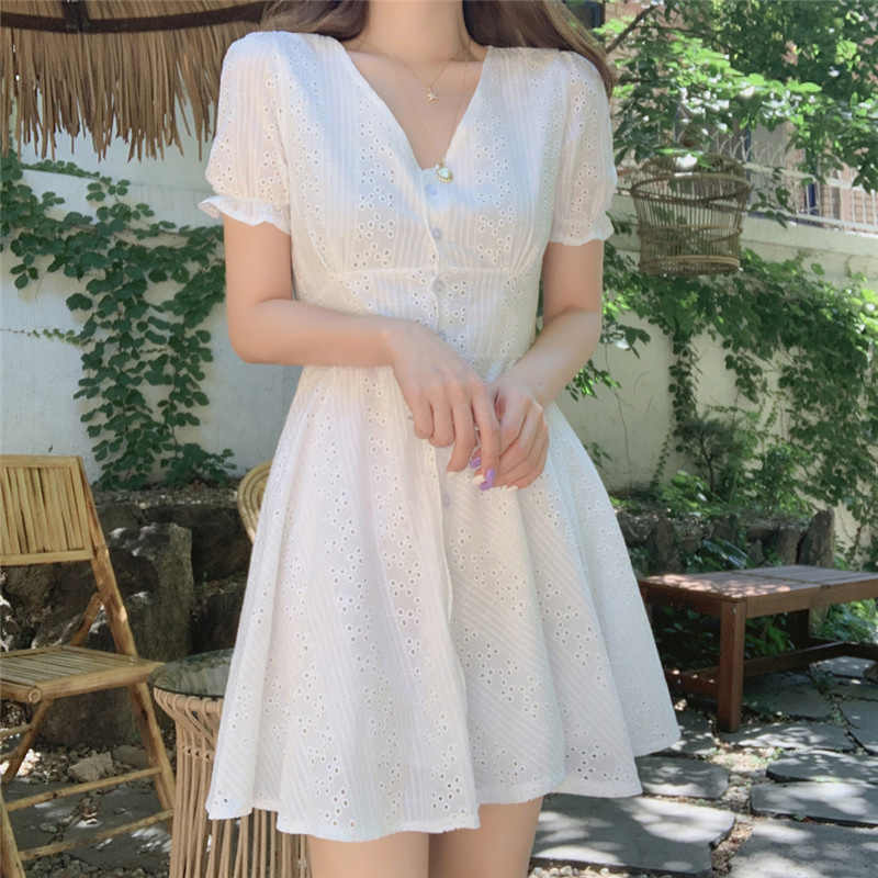 White Button Hollow Out Cotton Dress v Neck a Line Short Short Korean Harajuku Summer Dresses 2019 Sunflower Ropa Femenina Kadın