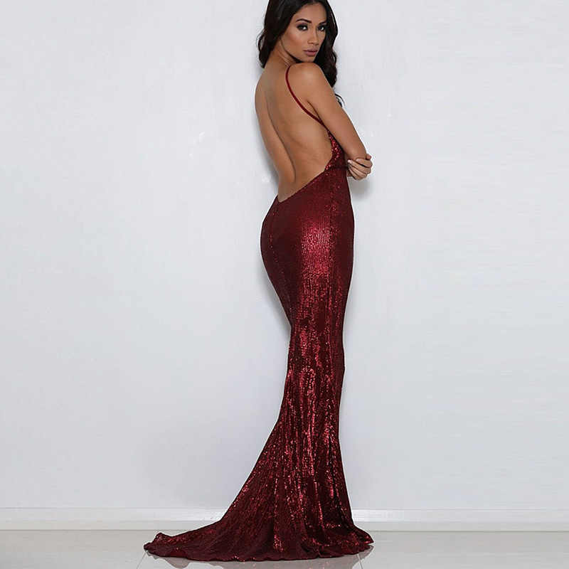 a03c1cfe7e Detail Feedback Questions about Sexy Backless Sequined Wine Red Maxi ...