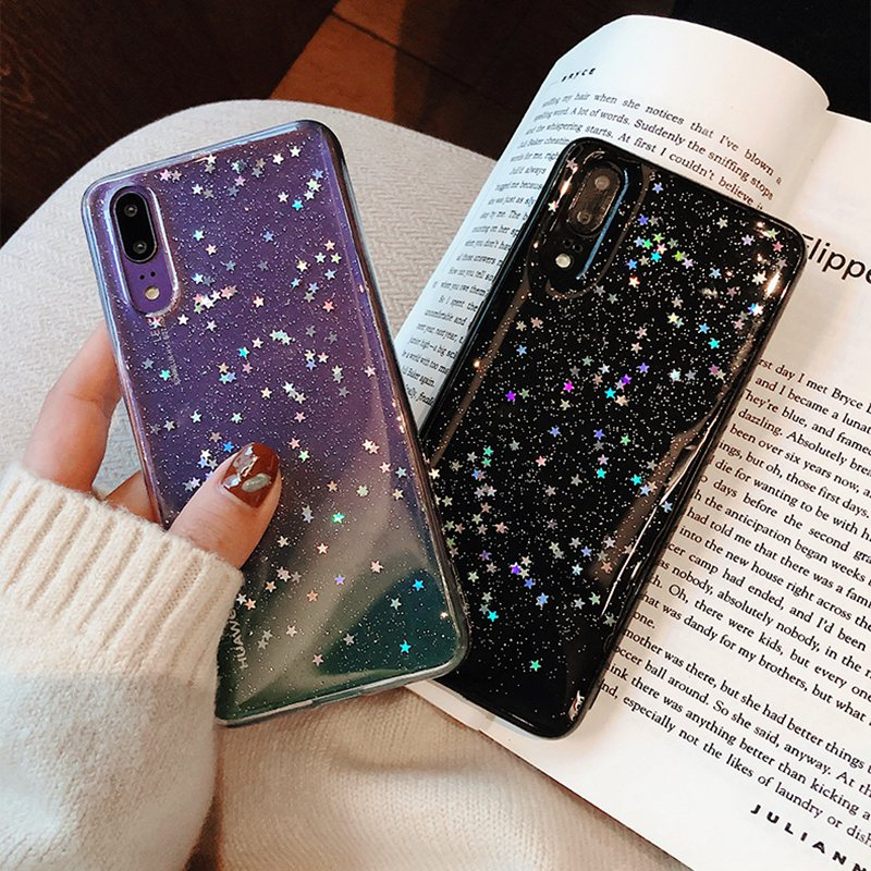 Clear Cute Bling Star Case For Huawei p20 lite Note 3i p30pro Soft Silicon Cover honor 10 9 7X 8x P20Pro P10Lite