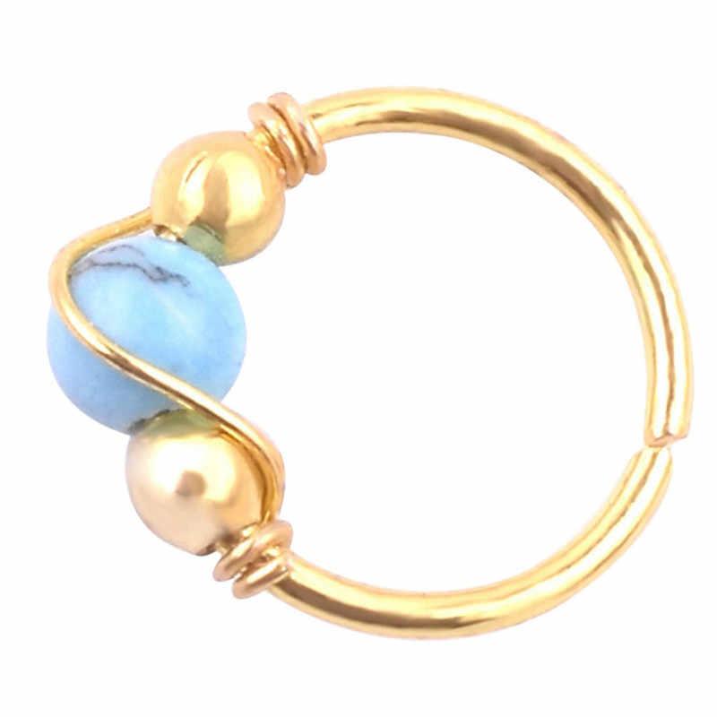 CANNER 1 pcs מכירה לוהטת הודי כחול אבן טבעת נחירי חישוק טבעות האף עגיל Hiphop פשוט גוף פירסינג תכשיטי R4