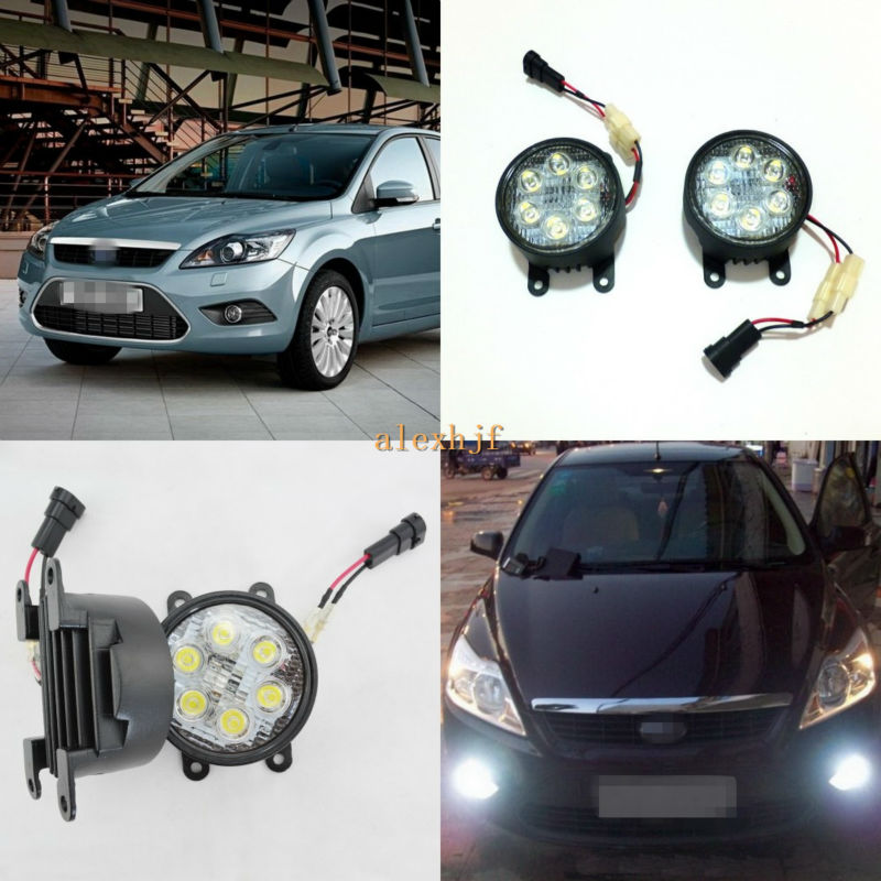 July King 18W 6LEDs 6500K 1260LM LED Daytime Running Lights H11 LED Fog Lamp Case for Ford Focus 2007~2014 etc, High life! july king led daytime running lights 6500k 18w led fog lamps case for honda crv fit city crosstour everus and acura 2013 on etc