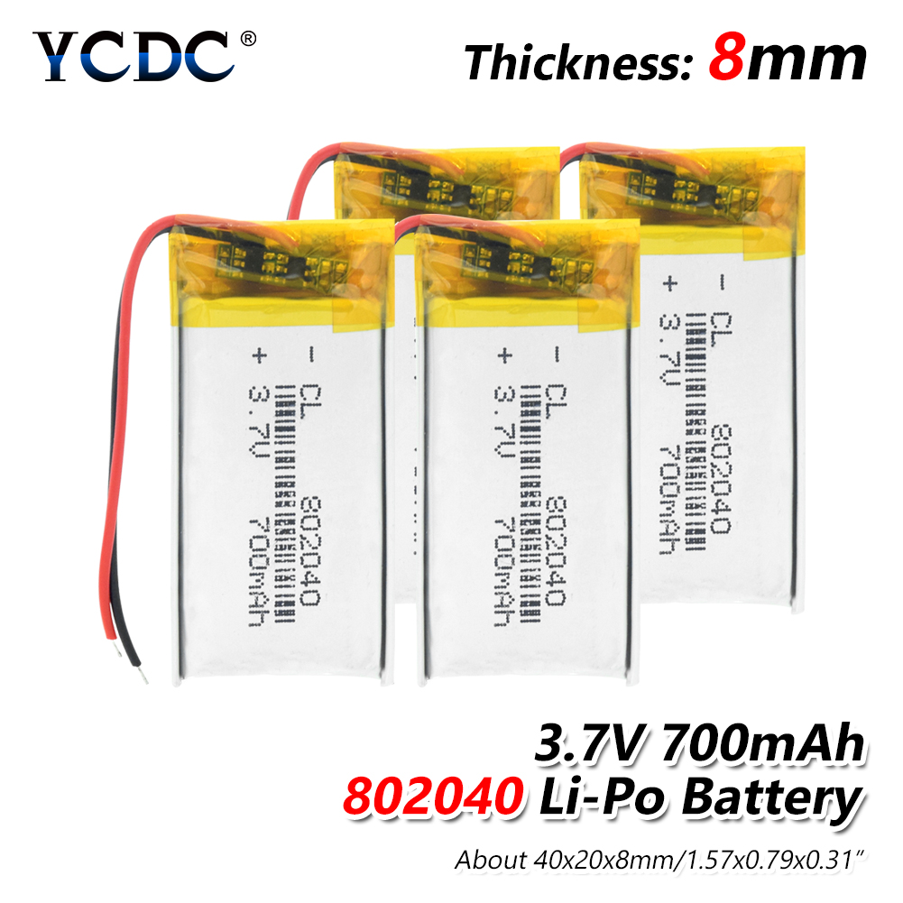 1/2/4x 3.7v Rechargeable 802040 Li Ion Polymer Lithium Batteries Pcb Charge Protected Lipo Li-polymer 700mAh Replacement Cell