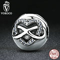VOROCO 925 Sterling Silver Infinity Heart Bow Knot Clear CZ Clip Charms Fit Pandora Bracelets & Bangles Jewelry S374