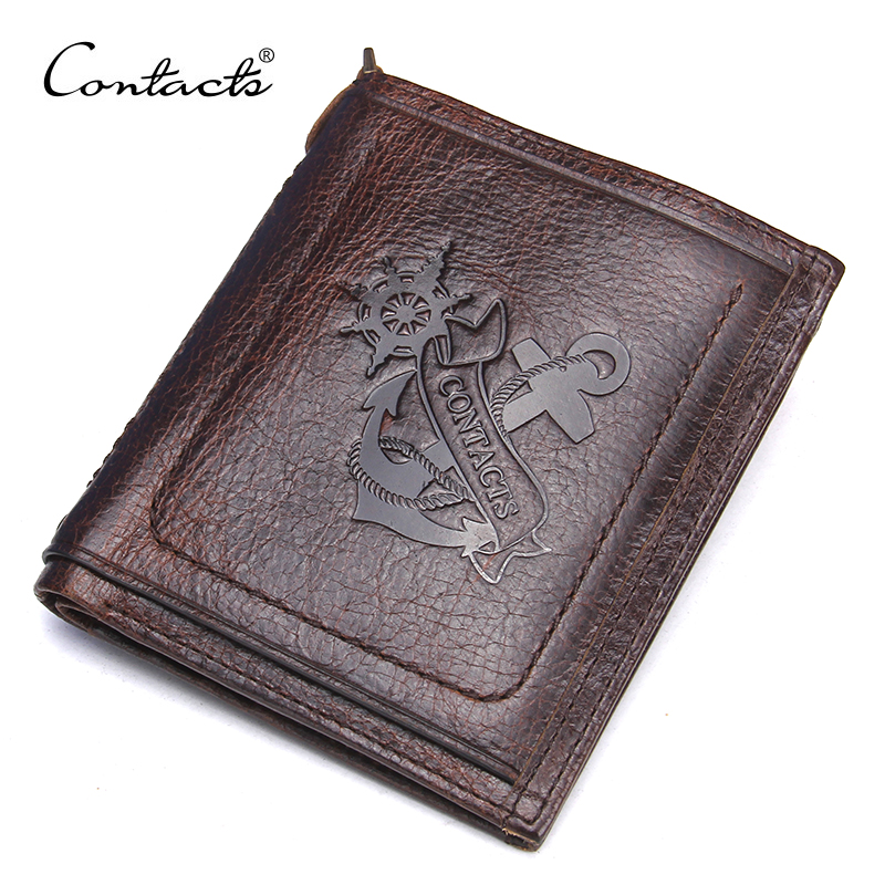 CONTACT'S Brand Wallet Casual Anchor Printed Design Genuine Leather Men Wallets With Card Holder and Coin Pocket For Male male leather casual short design wallet card holder pocket