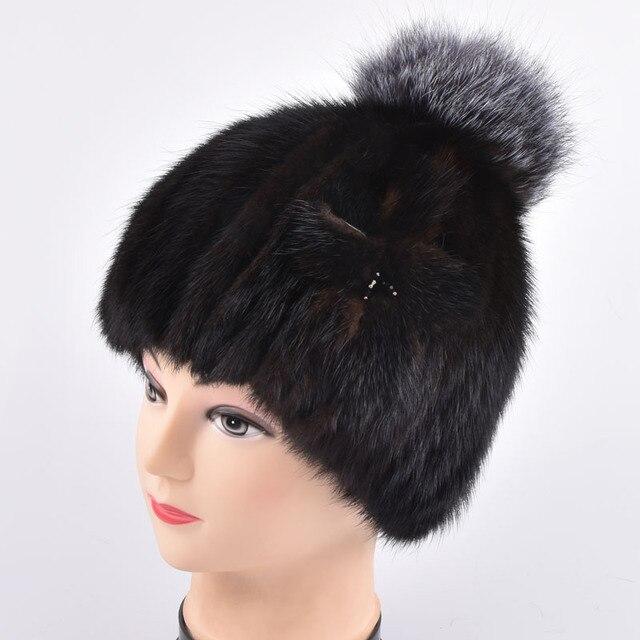 women mink knitting fur and silver fox fur hat winter warm Fashion women's real mink fur Fox ball knitted hat fur pom poms