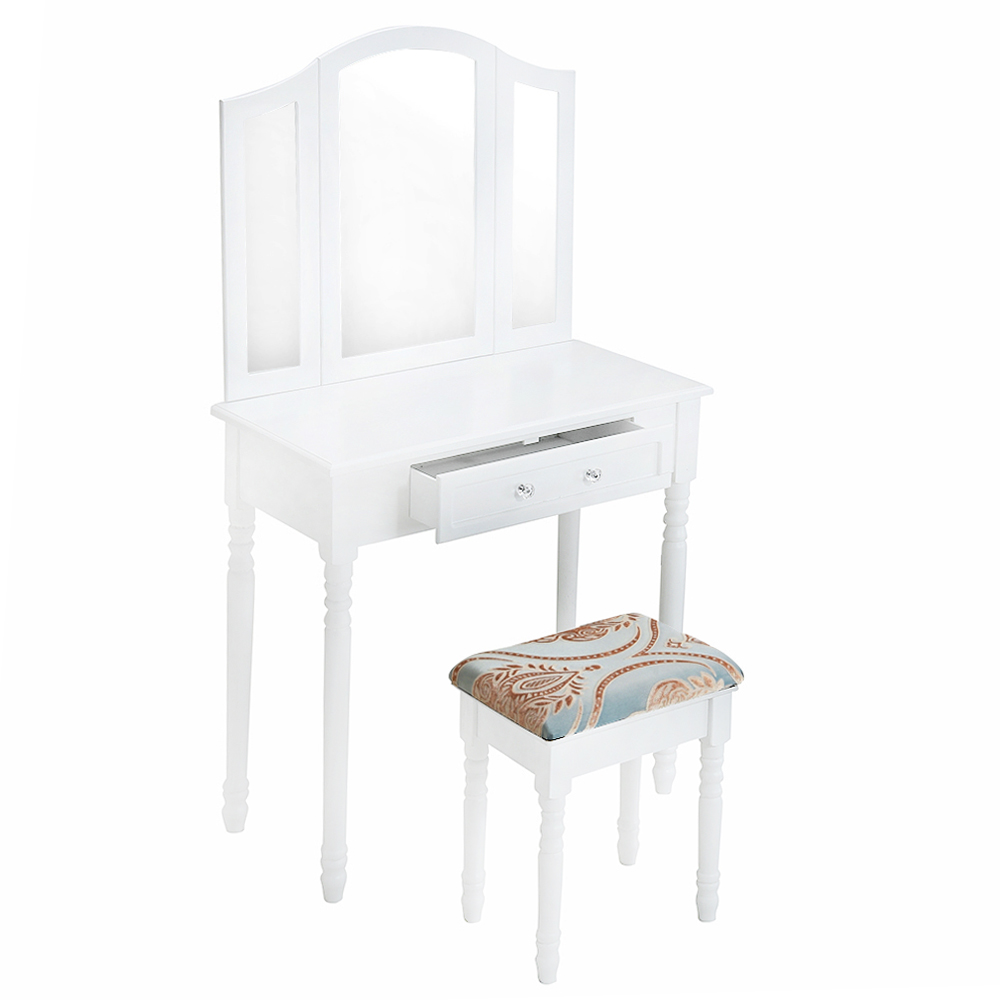 Wooden Dressing Table White Pine Makeup Desk With Stool 3 Mirror 1 Drawer HOT SALE bedroom home furniture dresser table with 2 drawers mirror and stool neoclassical style kd packaged wooden carved materials