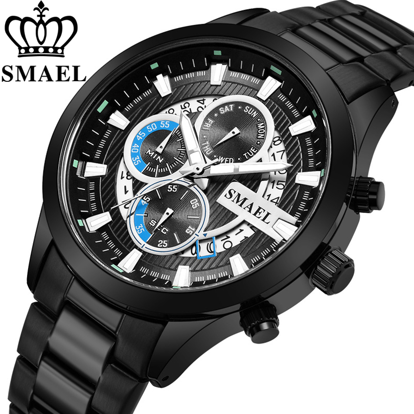 SMAEL Black & Gold Quartz Watch Top Brand Luxury Men Watches Fashion Man Wristwatches Stainless Steel Relogio Masculino Saatler