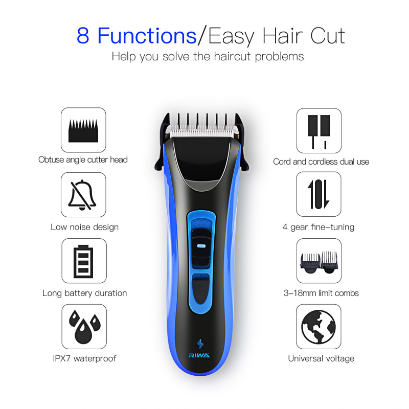 RIWA High Quality Hair Clipper CE certificated IPX7 Waterproof Super Quiet Professional Rechargeable Electric Hair Trimmer Blue сковорода славяна оникс диаметр 24 см