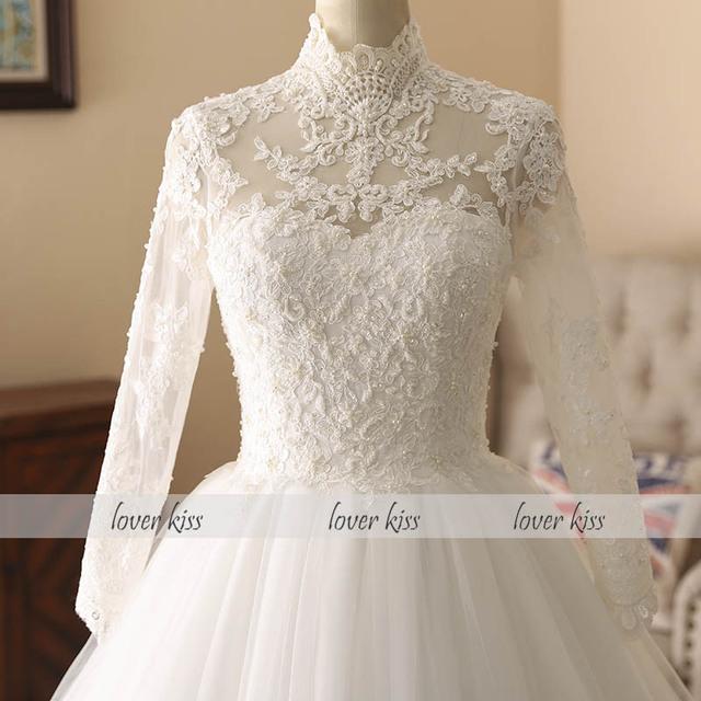 Elegant High Neck Long Sleeve Lace Muslim Wedding Dress For Bride Islamic Gowns Wedding Bridals Vestido De Noiva