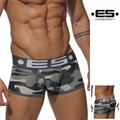 2017 ES Brand Underwear Боксер Шорты Сексуальные Мужчины Хлопок U Выпуклый Мешок Камуфляж Удобные Трусы Высокое Качество