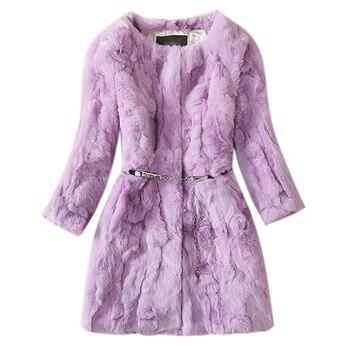 Real rex rabbit fur luxury long thick warm coat outerwear women O neck three quarter sleeve slim natural rex rabbit fur jacket