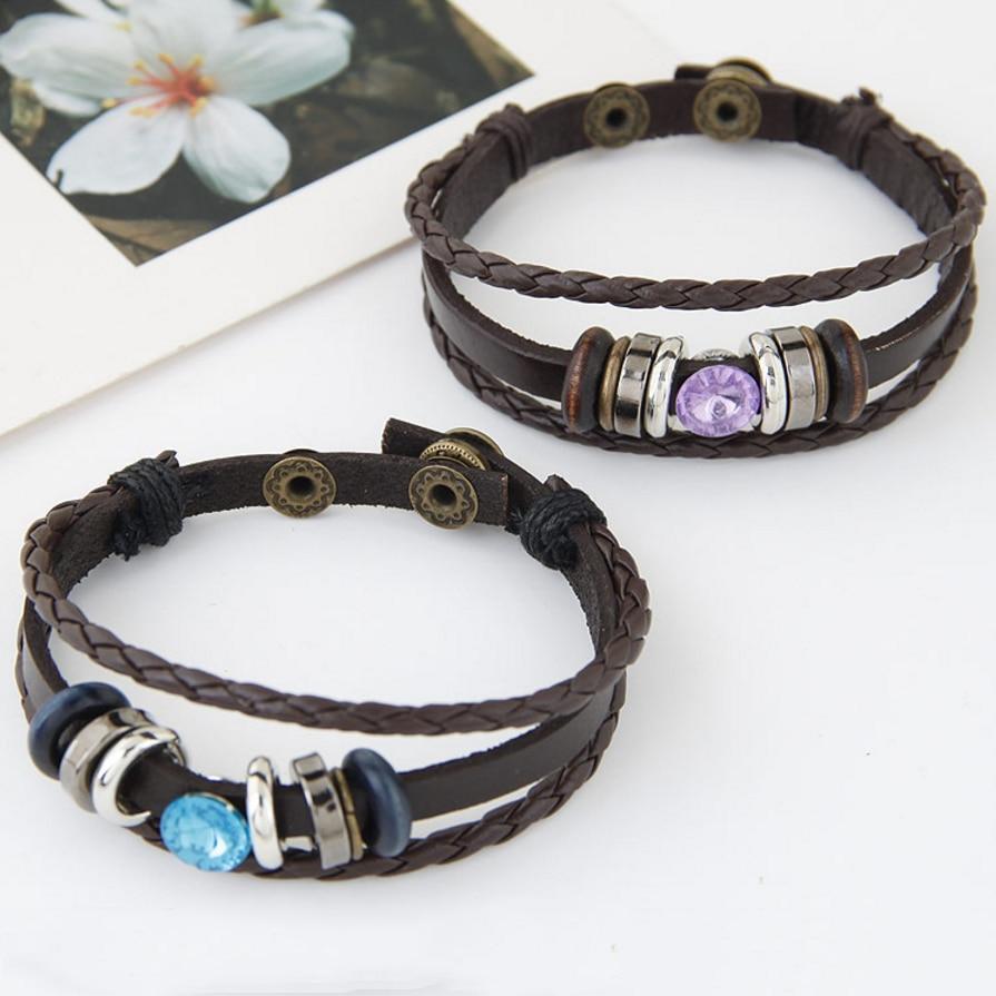 Black Bracelet Womens: Bracelet Black PU Leather Woven Bracelets Women Leather