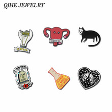 QIHE JEWELRY Skeleton Heart Skull Cat Tombstone Light Bulb Science Works Uterus Sternum Brooches Pins collection Punk Lapel pins(China)