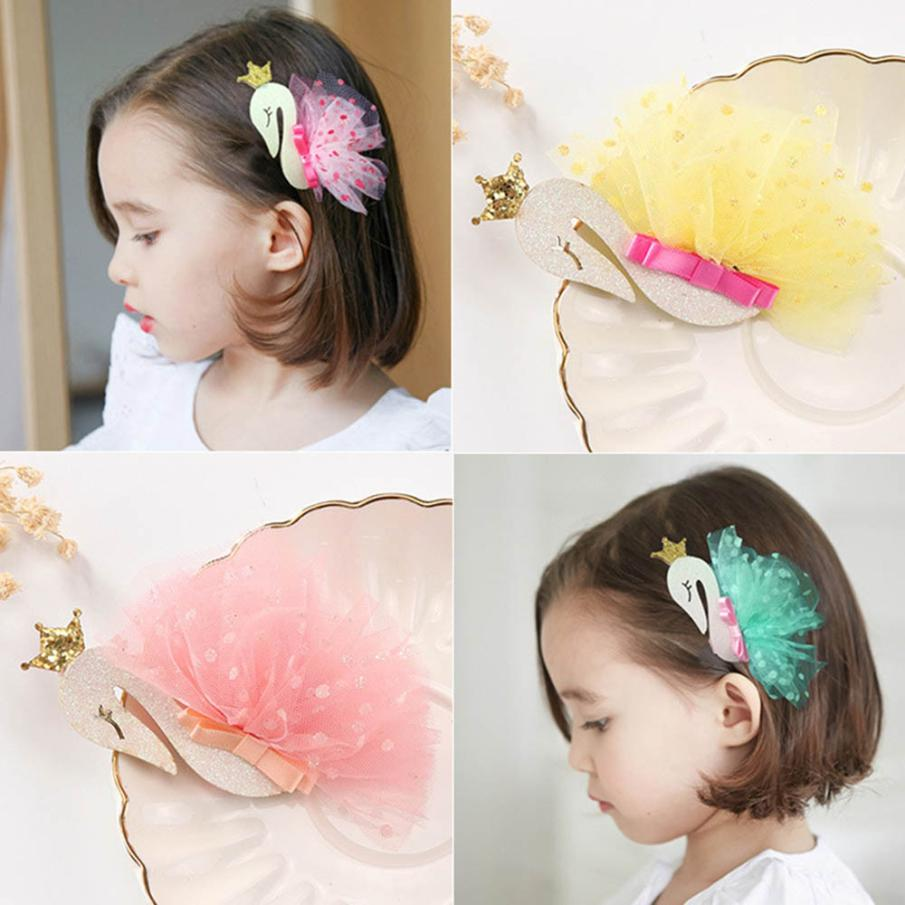 New Soft Cute 1PC Hair Clips Girls Lace Swan Hair Buckle Hairpin Hairgrip Headdress Comfortable Touch High Quality Gift