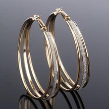 Vintage Gold Color Big Circle Hoop Earrings for Women Steampunk Ear Women Hoop Earring Party Jewelry