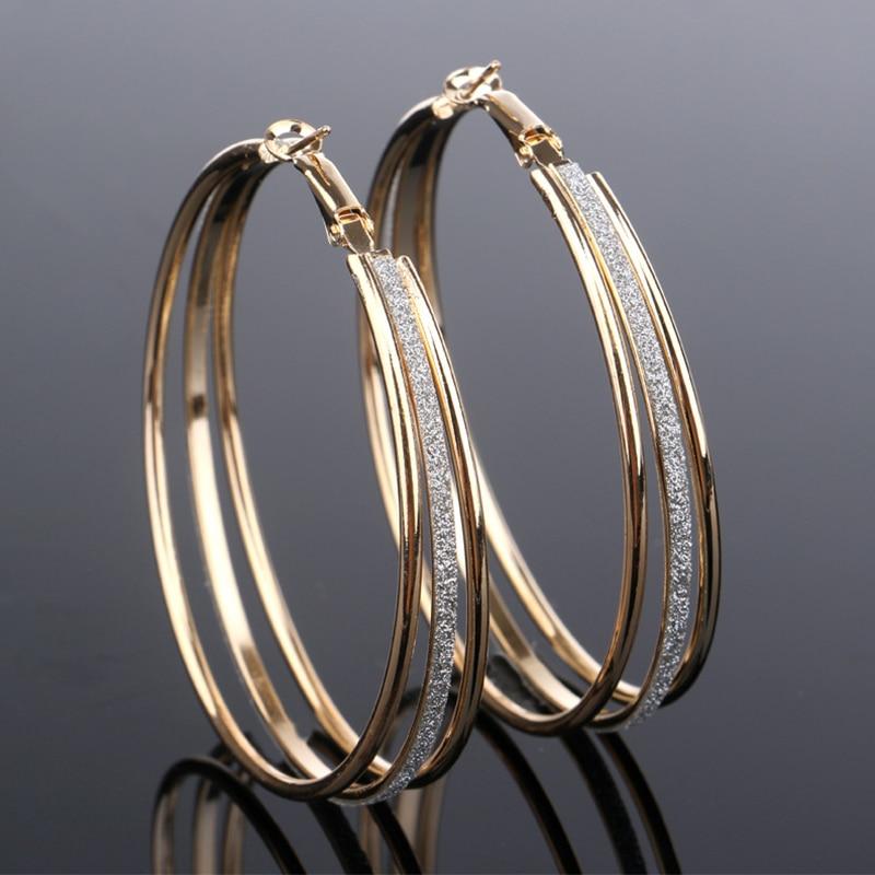Vintage Gold Color Big Circle Hoop Earrings for Women Steampunk Ear Women Hoop Earring Party font