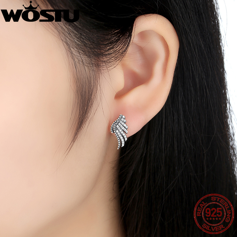Feathers stud earrings Hot Sale 925 Sterling Silver Majestic Feathers Stud Earrings For Women  Authentic Compatible with Original WST Jewelry ZBBS426-in Stud Earrings  from Jewelry ...