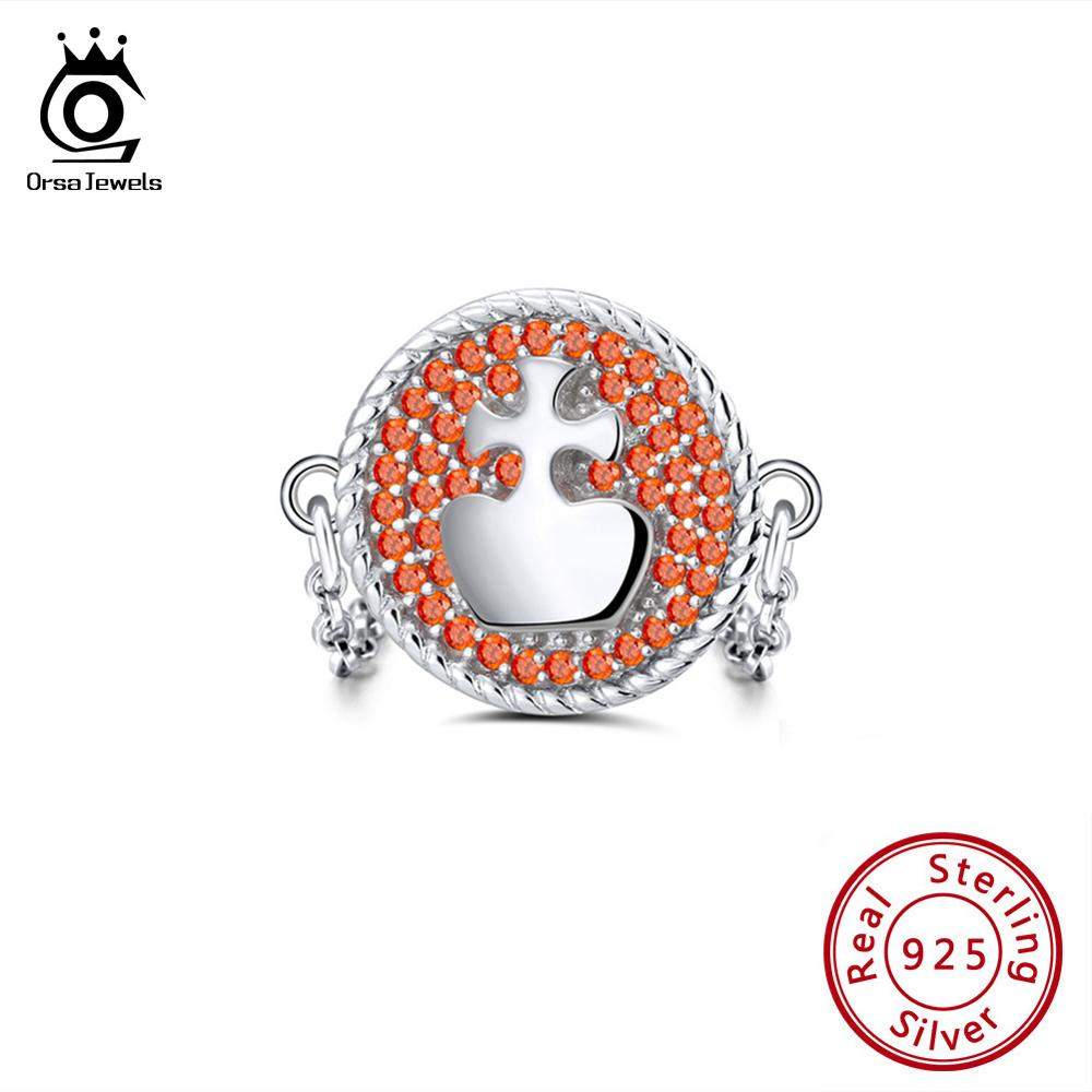 ORSA JEWELS Solid 925 Sterling Silver Ring For Women AAA Orange CZ Chess King Modeling Vintage Style Female Chain Rings SR113