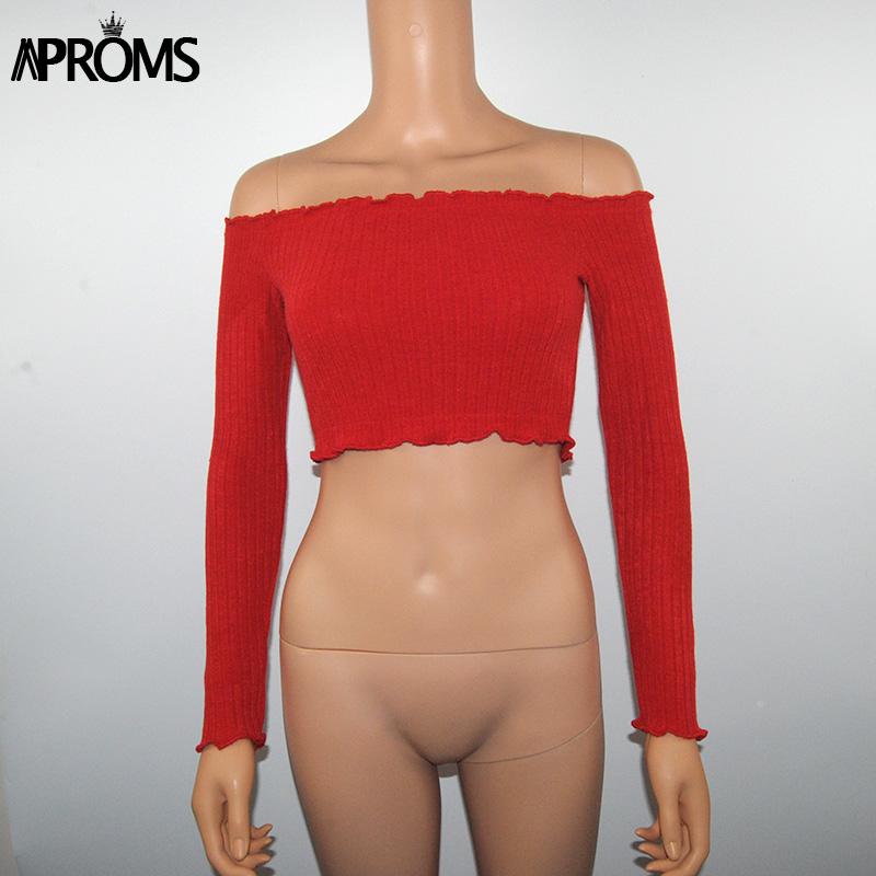 HTB1y8ZokqagSKJjy0Fhq6ArbFXa8 - FREE SHIPPING Crop Top Sexy Off Shoulder Ruffles JKP309