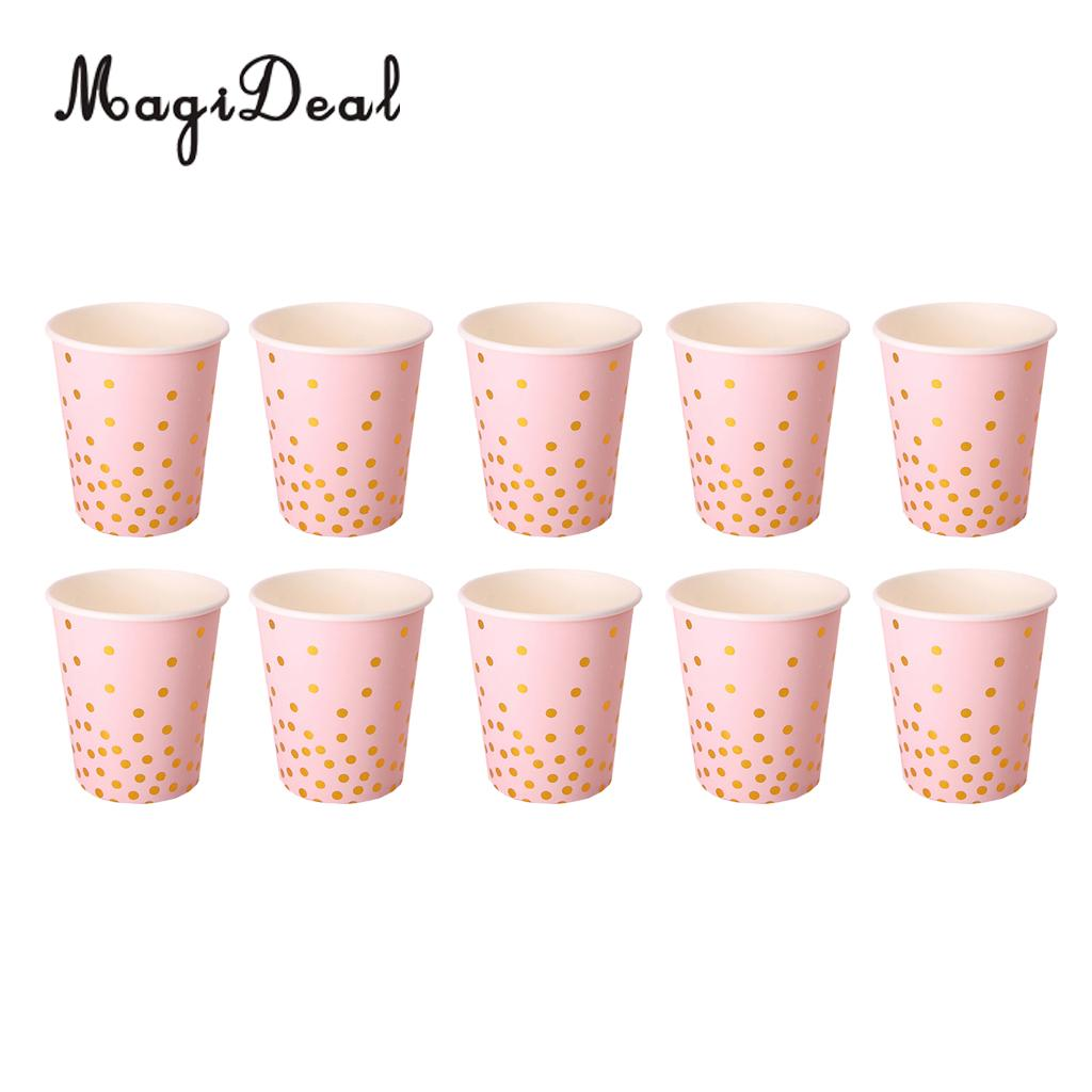10 Pieces Glitter Gold Polka Dot Paper Cups Baby Shower Wedding ...