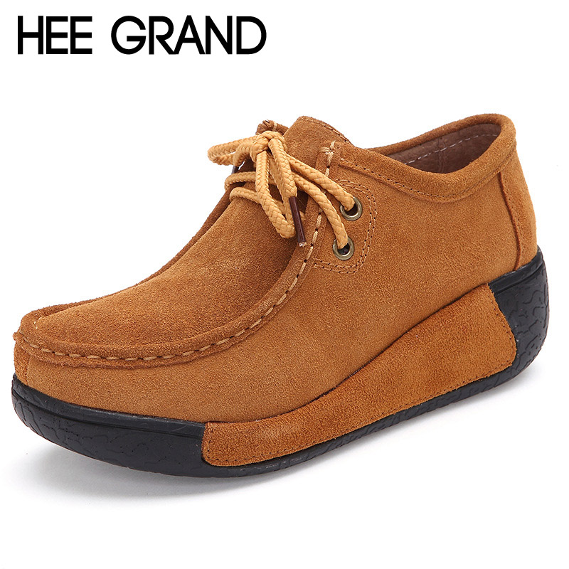 HEE GRAND 2017 Women Boots Autumn Lace-Up Ankle Boots Casual Platform Shoes Woman Suede Creepers Fashion Ladies Wedges XWD2683 wedges women boots 2017 new platform shoes woman creepers slip on ankle boots fashion flats casual women platform shoes zapatos