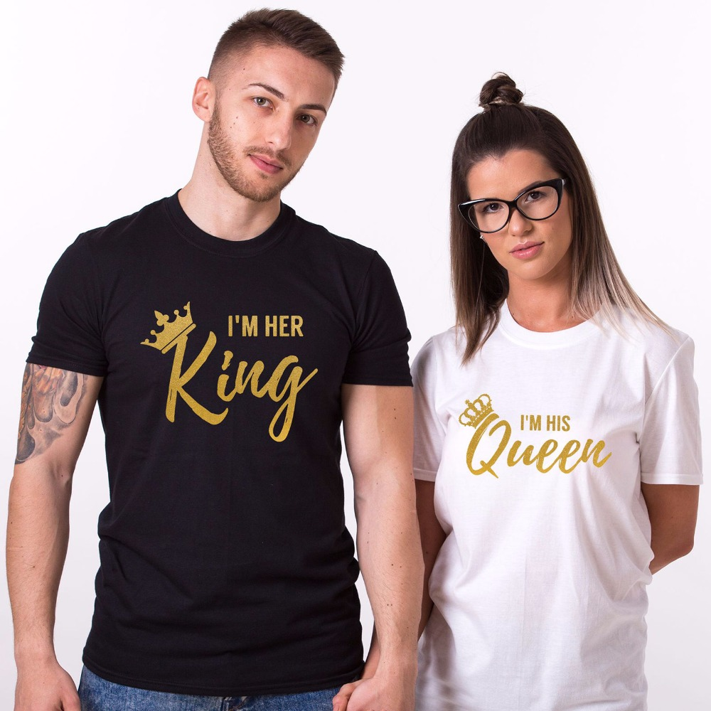 Casual tee shirt his her king and queen t shirt for Custom t shirts one day delivery