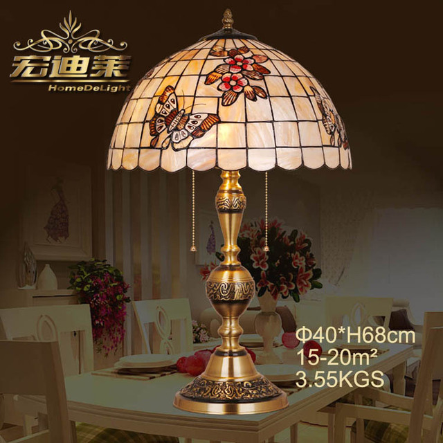 The natural copper shell lamp Waratah Sakura butterfly Festival gift wedding bedroom bedside table lamp full copper lamp