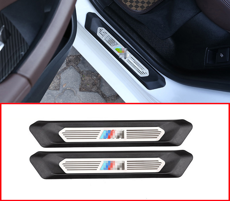 Silver/&Blue Fit for BMW X2 F39 2018 Stainless Steel Rear Outside Door Plate Bumper Cover Bar Sill Trim