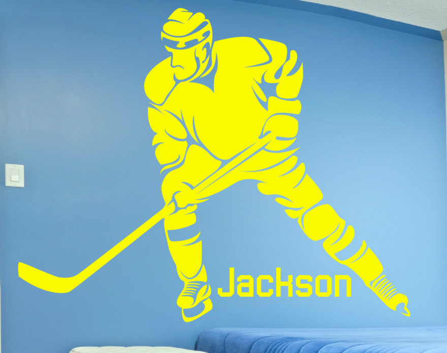 Hockey Player & Personalized Custom Name Removable Wall Decor Decal ...