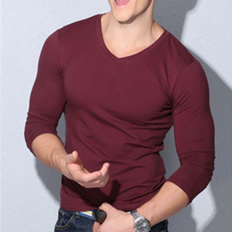 ITFABS новейшее поступление Модная Мужская сексуальная рубашка с длинным рукавом и v-образным вырезом Повседневная Приталенная футболка Топ черный красный белый цвета