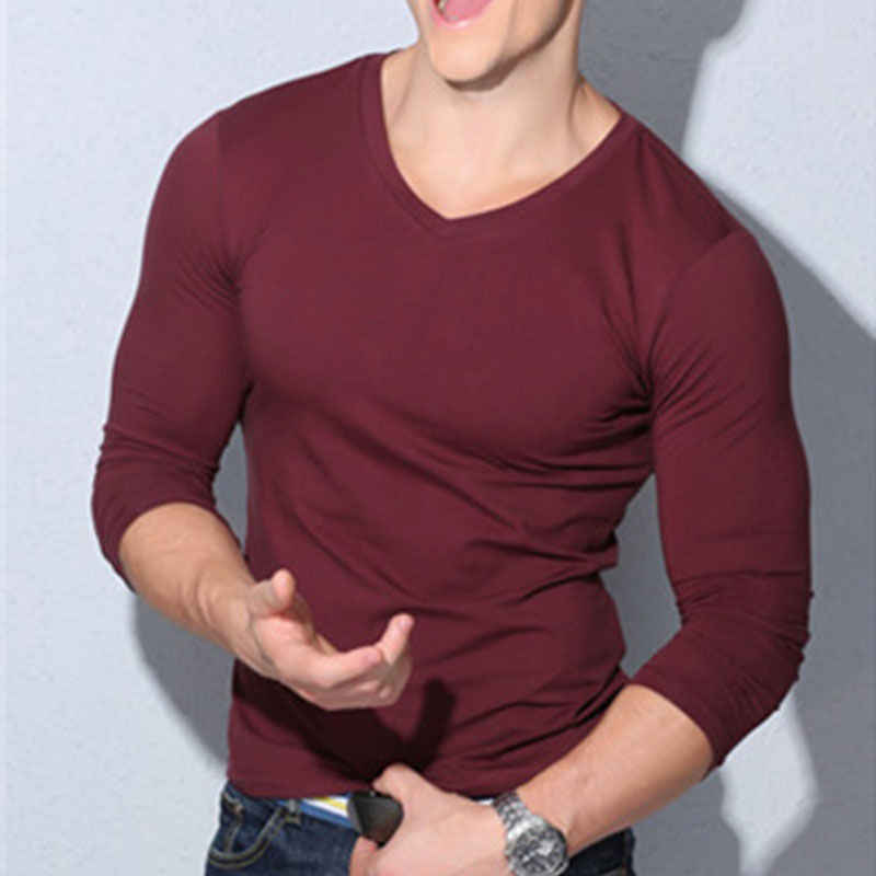 Itfabs 최신 도착 패션 핫 남성 섹시한 긴팔 셔츠 v 넥 캐주얼 슬림 피트 t 셔츠 티 탑 블랙 레드 화이트 색상