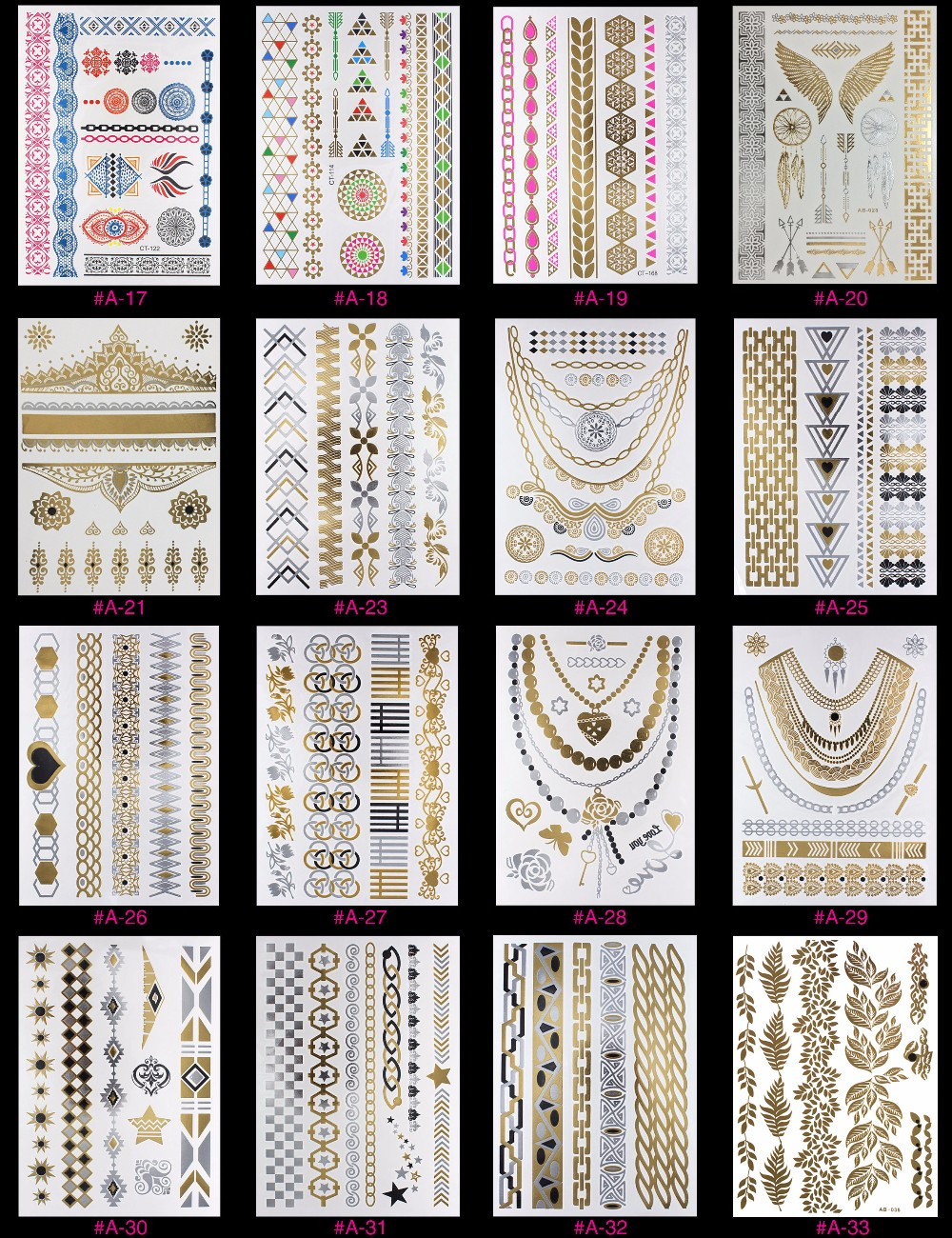 New Design Flash Removable Waterproof Gold Tattoos Metallic Temporary Tattoo Stickers Temporary Body Art Tattoo 13
