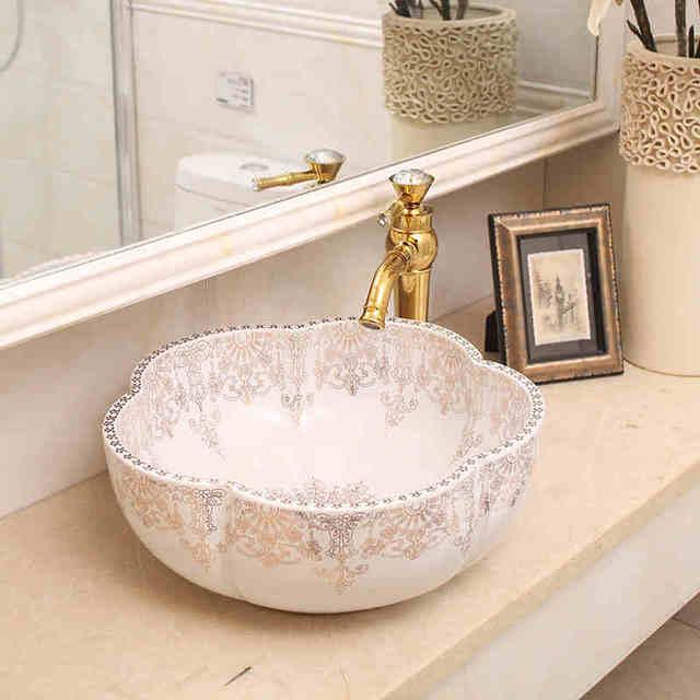 Weiße farbe Europa Stil Handgefertigten porzellan waschbecken Blume ...