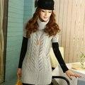 Cuello alto suéter de cobertura de manga corta y largas secciones Slim paquete hip giro de lana caliente sweater-d915