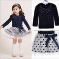 2015 girls set cotton long-sleeved dot girls clothing t shirt+skirt suit girls princess dress Children's Sets free shipping