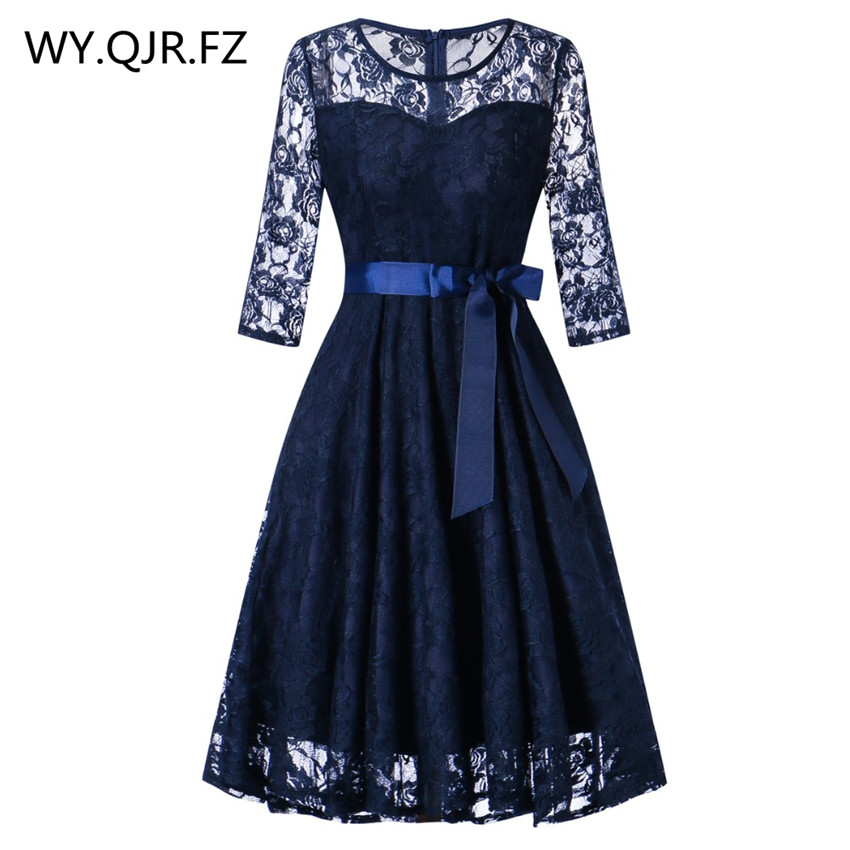 OML516l#Middle sleeve O-Neck short Navy blue lace Bow   Bridesmaid     Dresses   wedding party   dress   prom gown women's fashion wholesale