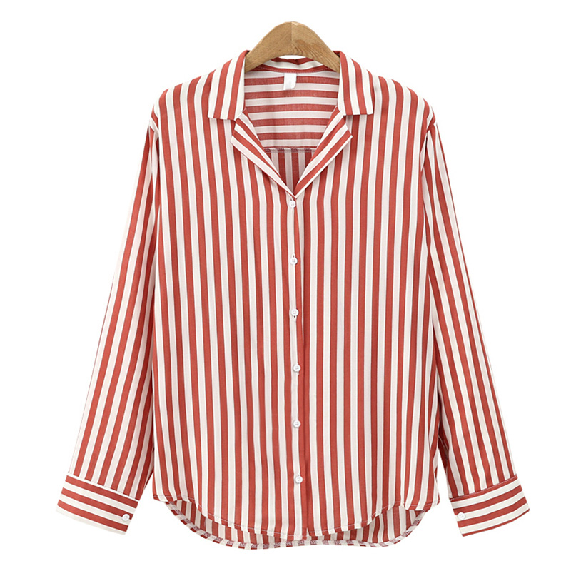 Dioufond Red Brown Black Casual Striped Shirt Long Slevee Notched Blouse Cotton Women Blouse Fashion Women Tops Female Cloth