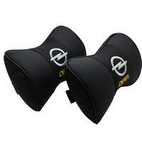 pair of Car leather headrest art car neck pillow for OPEL Corsa Insignia Astra Antara Meriva Zafira accessories Car Styling Auto