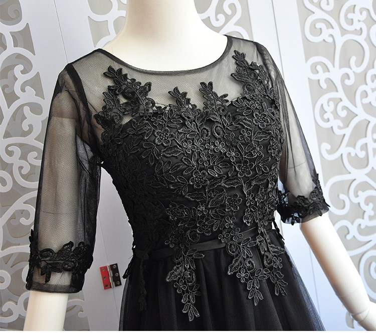 Black Colour Long Dress Wedding Party Dresses For Women  Sexy Dress  Bridesmaid Dresses Embroidery Back Of Bandage