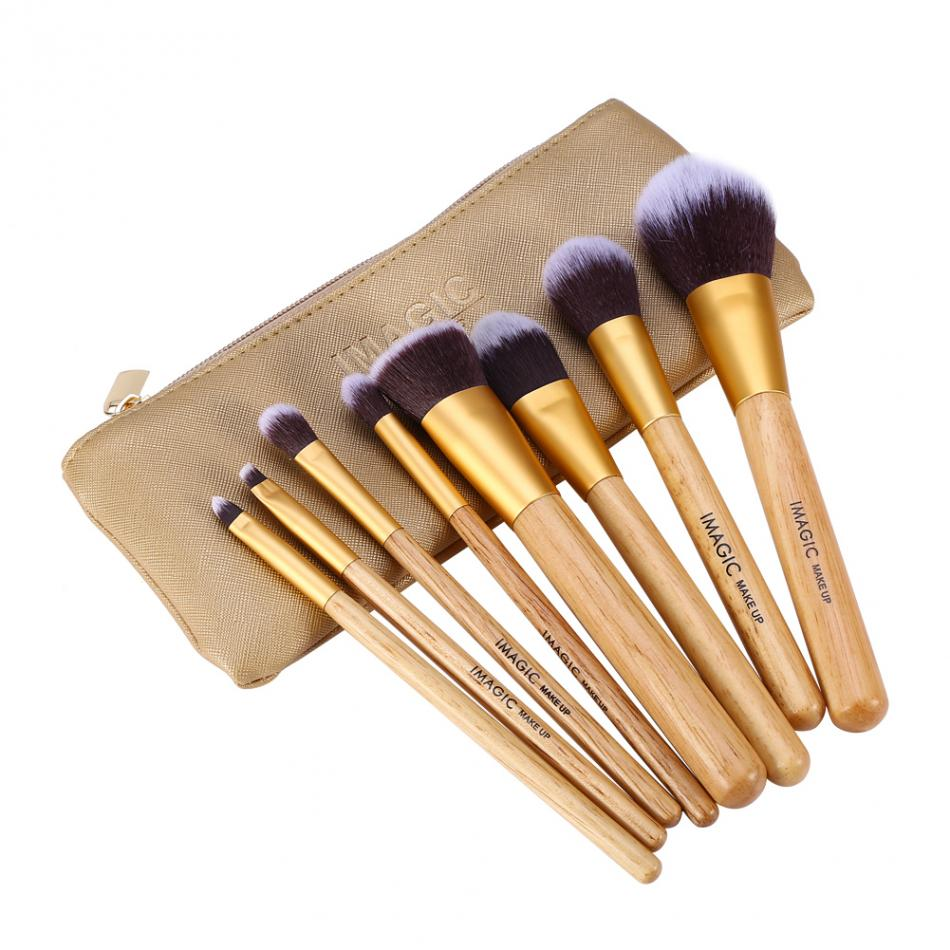 IMAGIC 8pcs Makeup Brush Set Wooden pincel maquiagem Blush Base Foundation Eyeshadow Blending Brushes Kit With Cosmetics Bag pro 15pcs tz makeup brushes set powder foundation blush eyeshadow eyebrow face brush pincel maquiagem cosmetics kits with bag