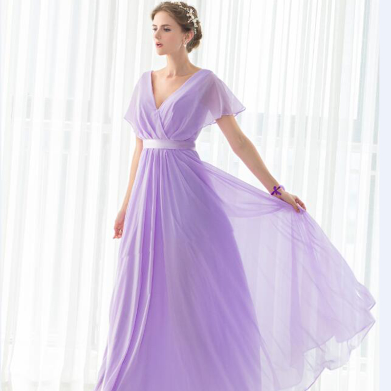 SHAMAI pas cher étage longueur Cap manches robes de demoiselle d'honneur robe de soirée de mariage en mousseline de soie violet clair nouvelle robe de demoiselle d'honneur - 2