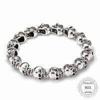 HEMISTON Punk 925 Sterling Silver Skull Beads Bracelets, 14CM 24CM, Fine Jewelry Gift for Women and Men TS 021