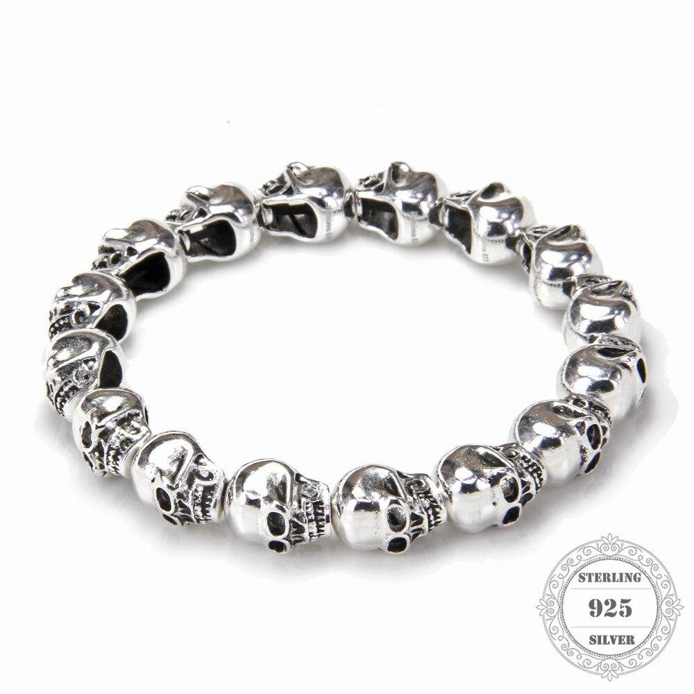 HEMISTON Punk 925 argent Sterling crâne perles Bracelets, 14 CM-24 CM, bijoux fins cadeau pour les femmes et les hommes TS 021
