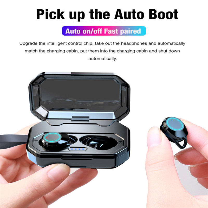 Bluetooth 5 0 TWS Earphones X6 Hifi Stereo Sound Earbuds with Microphone Handsfree Noise Canceling Waterproof 3000mAh Power Bank in Bluetooth Earphones Headphones from Consumer Electronics