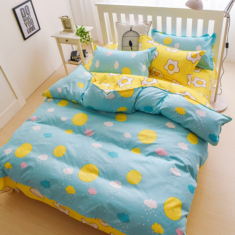 Cartoon Sunshine Bedding Sets For Children Polyester Single Double Bed Linens 3-4pcs Duvet Cover Sets XF342-1