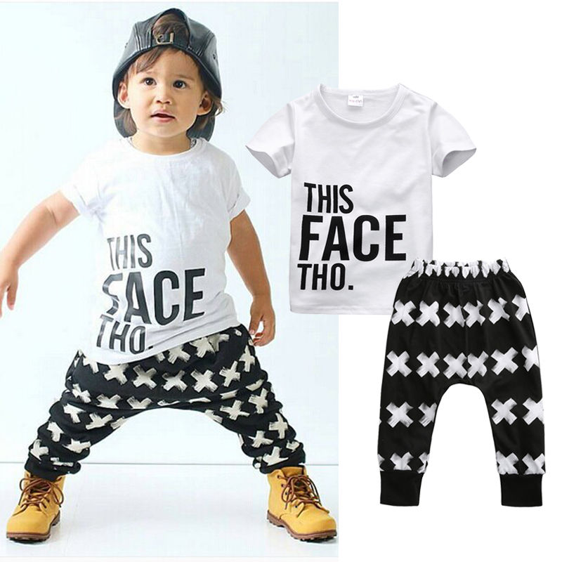 91f957550 New 2016 summer girls boys children clothing set baby clothes short ...