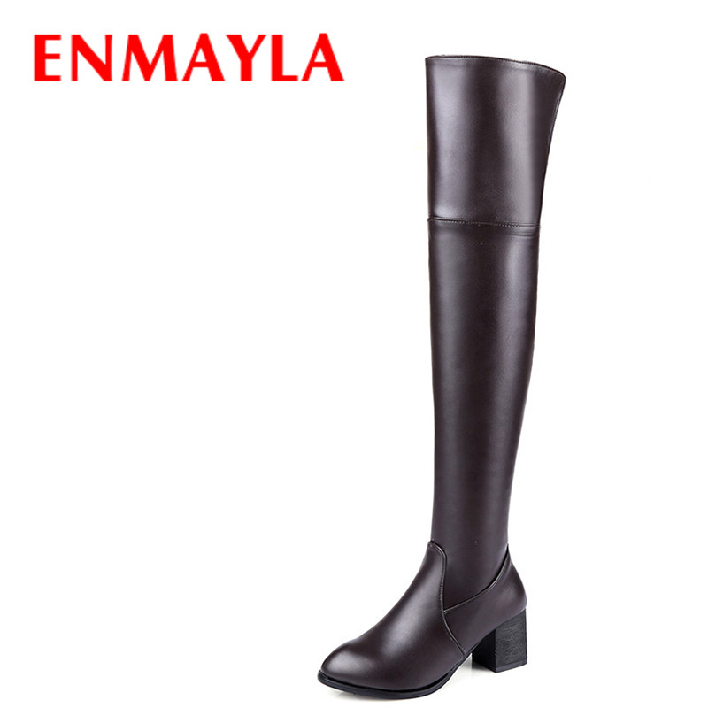 ENAMYLA Over-knee-high Boots Women Med Heels Solid Colors Thigh High Boots Black White Brown Winter Shoes Woman Long BootsENAMYLA Over-knee-high Boots Women Med Heels Solid Colors Thigh High Boots Black White Brown Winter Shoes Woman Long Boots
