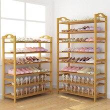 Бамбуковый дверной шкаф для обуви, простой и экономичный шкаф для обуви в общежитии, компактный стеллаж для хранения обуви