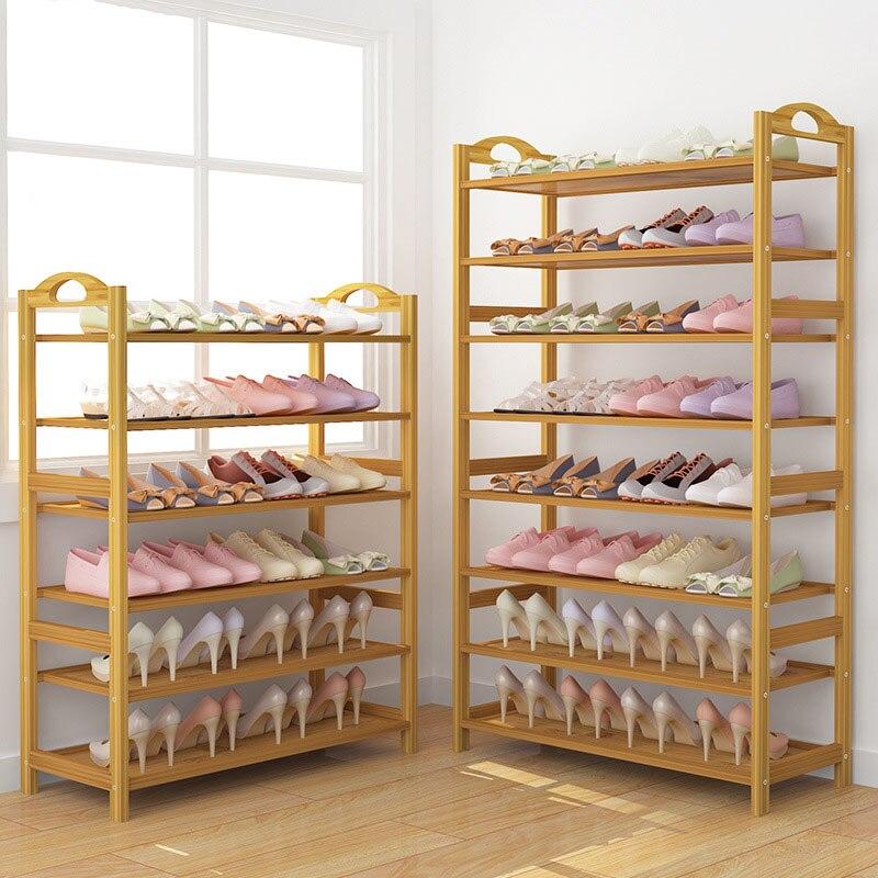 Porte-chaussures en bambou porte-chaussures Simple et économique armoire à chaussures dortoir stockage peu encombrant étagère à chaussures Rack de stockage